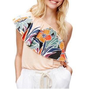 Free People One Shoulder Floral Flounce Top Blouse
